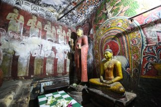 Inside one of the temples in Dambulla, Sri Lanka