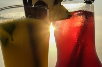 Enjoying drinks at Galle Face hotel, Colombo, Sri Lanka