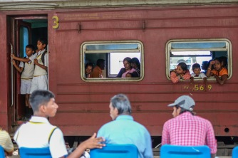 Train at Kandy train station, Sri Lanka