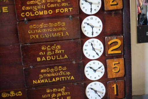 Time table at Kandy train station, Sri Lanka
