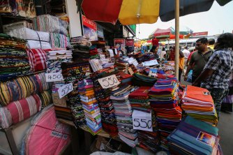 Shopping textiles in Colombo, Sri Lanka
