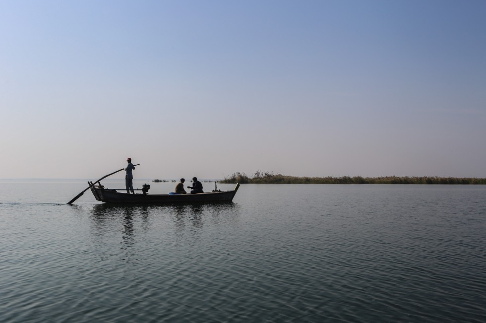Traditional fishing boat at Keenjhar Lake in Sindh Province, Pakistan