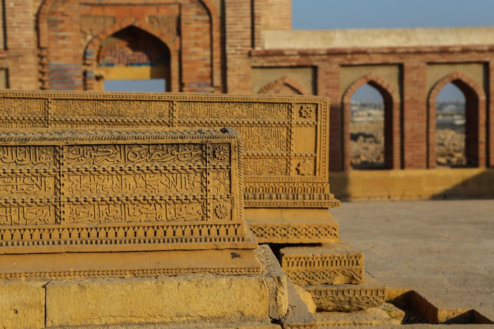 Tomb stones at Makli Hill, Thatta, a Necropolis that is one of the biggest in the world. Detail.