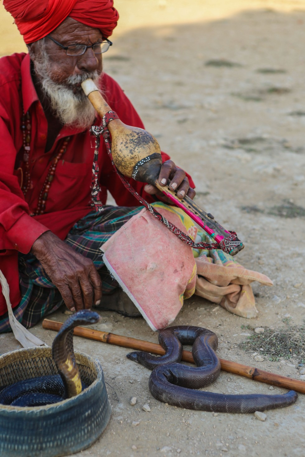 The Pakistani Snake Charmer at Makli Hill, Thatta
