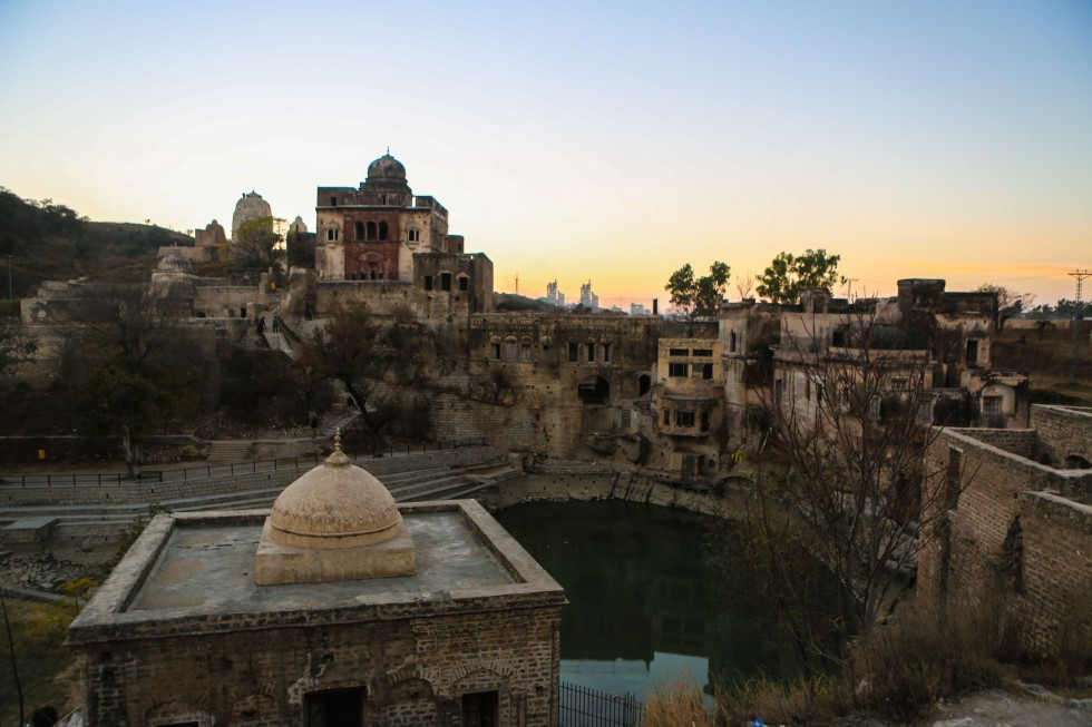 View of Katas Raj with the pond and temples