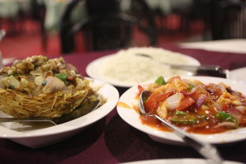 Pakistani Chinese fusion, sweet and sour with basmati rice