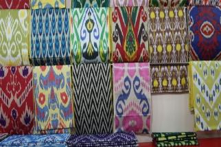 Atlas ikat silk Market Bukhara Uzbekistan -5253