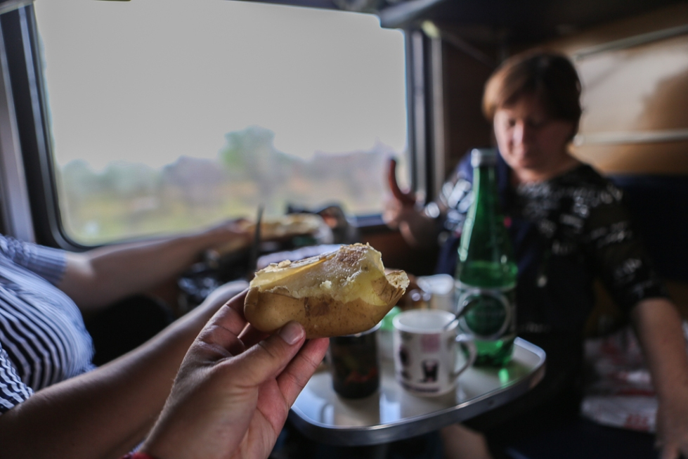 Dinner onboard a Russian train potato-8476
