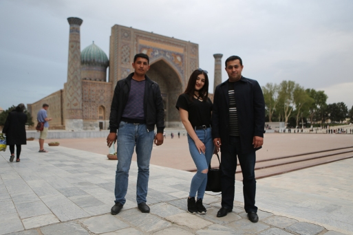 Posing at Registan Samarkand-5336